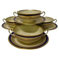 Cream Soup Bowls with Double Handles & Matching Saucers - Set of 4