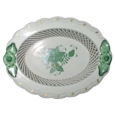 "Herend Hungary Porcelain Green ""Chinese Bouquet"" Open Weave Mini Basket"