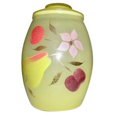 "Bartlett Collins ""Snow Orchard"" Glass Cookie Jar Circa 1950's"