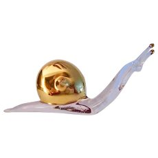 Murano Contemporary Hand Blown Glass and Golden Shell Snail Figurine