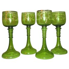 4 Bohemian Lime Green & Gilt Goblets Circa 1900
