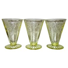 "Yellow ""Cameo"" Ballerina Anchor Hocking Water Tumblers (3)"