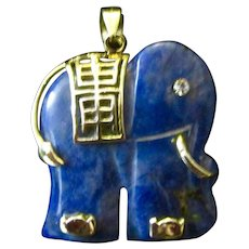 Vintage 14K Gold and Lapis Lazuli Chinese Carved Elephant Pendant