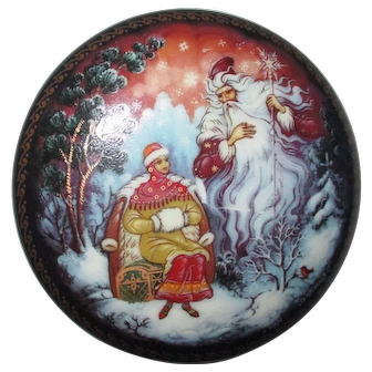 Vintage Round Russian Hand Painted & Lacquered Musical Trinket Box