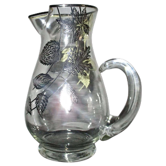 MCM Glass Pitcher with Sterling Silver Overlay of Falling Leaves