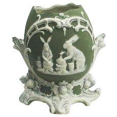 Unmarked Jasperware Style Easter Bunnies Vase