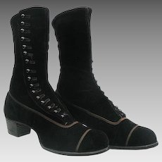 Victorian Black Velvet High Button Boots circa 1900