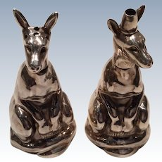 1910 Birmingham Rare Pair of Kangaroo Pepper and Salt pots.