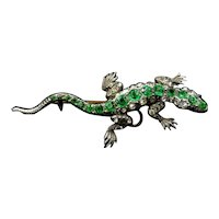 Antique Green Paste Sterling Silver Lizard Brooch and Pendant