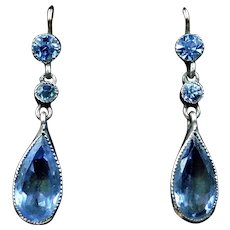 Antique Foiled Blue Paste Gold and Silver Drop Dangle Earrings