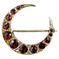 Antique Garnet & Diamond 9K Gold Crescent Brooch Pin Chester 1912