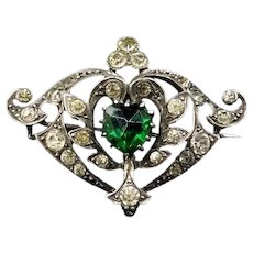 Antique Old Cut Green Heart Paste Sterling Silver Brooch Pin