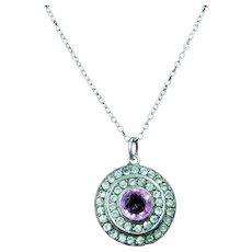 Antique Pink Paste Sterling Silver Round Halo Pendant Necklace