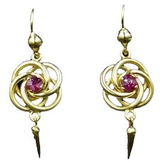 Antique Victorian Lovers Knot Ruby 18ct 18K Yellow Gold Drop Dangle Earrings
