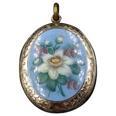 Antique Victorian Blue Enamel Flower Floral 9ct Gold Oval Locket Pendant