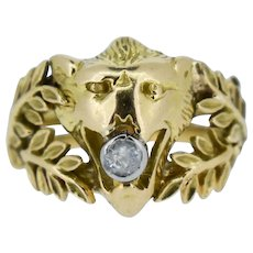 Vintage Old Cut Diamond Lions Head and Laurel Leaf 18ct 18K Yellow Gold Ring