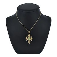 Antique Peridot and Pearl Lavalier 15ct 15K Gold Drop Pendant Necklace and Brooch