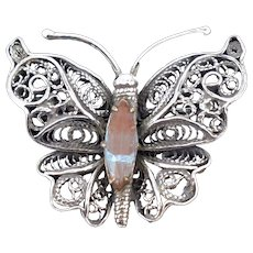 Vintage Saphiret Filigree Silver Butterfly Insect Brooch Pin