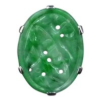 Art Deco Carved Jade Jadeite 18ct White Gold Oval Panel Ring