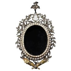 Antique Georgian Rose Cut Diamond & Pearl Large Oval Glass Locket Pendant