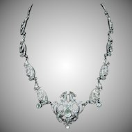 """Antique Victorian Old Cut Paste and Sterling Silver Bird Peacock Necklace Collar 18"""""""