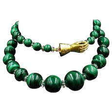 Antique Georgian Malachite and Rock Crystal Beaded Necklace with Rose Cut Diamond Gold Hand Clasp
