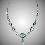 Antique Victorian Moonstone Blue Sapphire and Marcasite Sterling Silver Drop Necklace | Arts and Crafts Movement C.1890