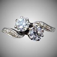 Antique Edwardian Diamond 'Toi Et Moi' Two Stone Twist Platinum Ring