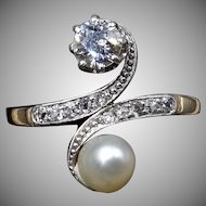 Antique Edwardian Diamond and Cultured Pearl Toi Et Moi 18ct 18K Yellow Gold and Platinum Ring