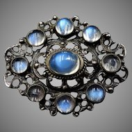 Antique Victorian Moonstone Sterling Silver Oval Brooch Pin | Austro Hungarian Circa. 1880