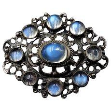 Antique Victorian Moonstone Sterling Silver Oval Brooch Pin   Austro Hungarian Circa. 1880