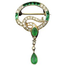 Antique Victorian Emerald Green Paste Snake Serpent 18ct Gold Gilded Silver Brooch with Drop