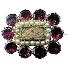 Antique Georgian Flat Cut Garnet Seed Pearl 9ct Yellow Gold Lace Pin Brooch
