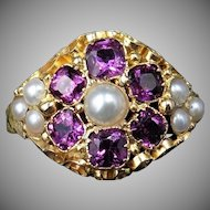 Antique Garnet and Pearl Statement Cluster 15ct 15K Yellow Gold Scroll Ring