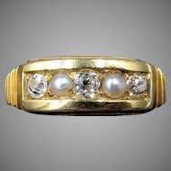 Antique Victorian Old Cut Diamond and Pearl 18ct 18K Yellow Gold Ring Band