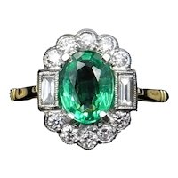 Emerald and Diamond Oval Cluster Platinum and 18ct Yellow Gold Ring