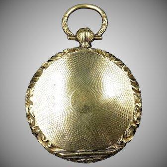 Antique Georgian Embossed Rolled Gold Watch Case Locket Pendant | Circa. 1830