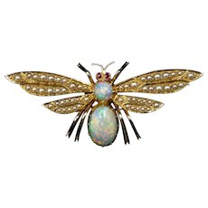 Antique Victorian Opal Ruby and Pearl 15ct 15k Yellow Gold Butterfly Insect Brooch Pin | Original Box - Boxed