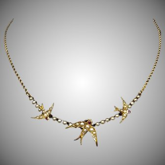 Antique Victorian Three Swallows Pearl and Ruby 15ct 15k Yellow Gold Necklace | Swallow Bird