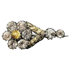 Antique Georgian Old Cut Paste Halley's Comet 9ct Gold Brooch Pin | Circa. 1835