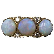 Antique Natural Opal and Old Cut Diamond Trilogy 18ct 18K Yellow Gold Scroll Ring