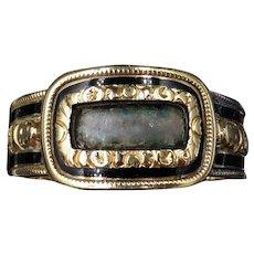 Antique Georgian Black Enamel 18ct 18K Yellow Gold Mourning Ring Hallmarked 1822