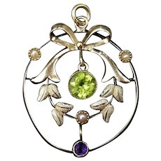 Antique Edwardian Suffragette Amethyst Peridot and Pearl Bow Lavalier 9ct Gold Pendant