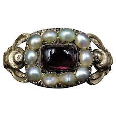 Antique Georgian Cabochon Garnet and Pearl Cluster 15ct 15K Yellow Gold Scroll Ring