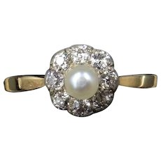 Antique Edwardian Diamond and Pearl Cluster 18ct 18K Yellow Gold and Platinum Ring