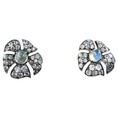 Antique Victorian Moonstone and Paste Silver and 9ct Yellow Gold Flower Stud Earrings