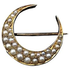 Antique Victorian Pearl Crescent Moon 15ct 15K Yellow Gold Brooch Pin