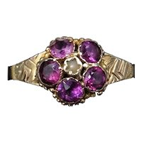 Antique Victorian Garnet and Pearl Cluster 18ct 18K Yellow Gold Ring