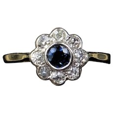 Antique Blue Sapphire and Old Cut Diamond Halo Cluster 18ct 18K Yellow Gold Ring