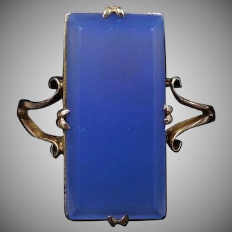 Art Deco Blue Chalcedony Agate Statement Rectangle 9ct Yellow Gold Ring